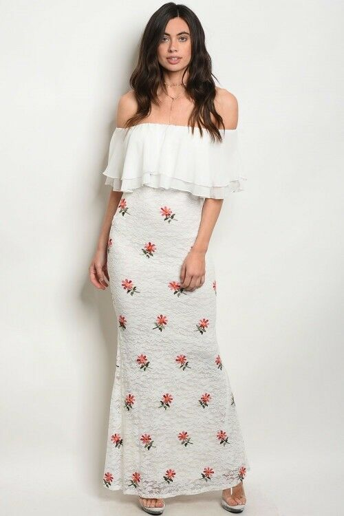 Gorgeous Ivory Off the Shoulder Lace Maxi Gown in size medium