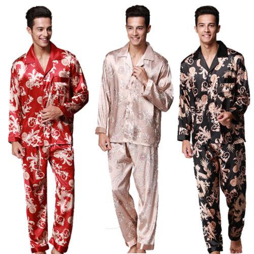 pantaloni a lunghe Set Ethnic Qa camicia stampato Men pigiama maniche Sleepwear Dragon Hqc4xBTwZ