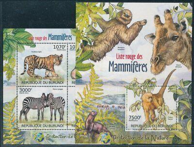 293436) Burundi Klbg. Nr.2625-8+block 249** Seltene Säugetiere