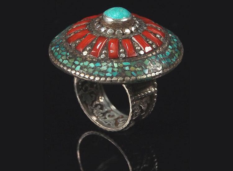 Tradizionali tibetani Turchese Anello Tibetan Turquoise Anello argentoata n. n. n. 11 e87479