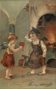 Cupid-Blacksmith-Forge-Broken-Heart-c1910-Valentine-Postcard
