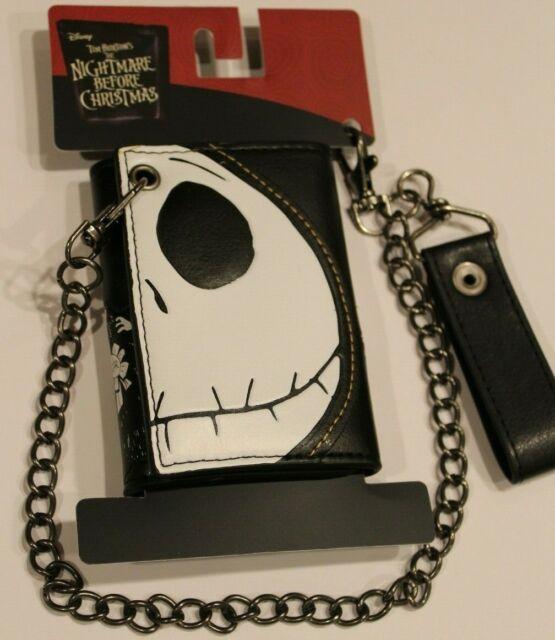 Jack Skellington Face Tri-fold Wallet Chain Nightmare Before Christmas Halloween