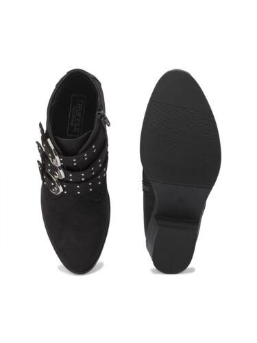 Truffle Floral Black Flower Vegan Zip Suede Embroidery Buckle Boots Biker Ankle qIIwx4rdB
