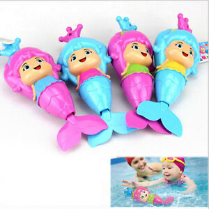 Baby-Mermaid-Clockwork-Dabbling-Bath-Toy-Classic-Swimming-Water-Wind-UpE9C