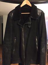 AUTH MEN'S PRADA MILANO Sheepskin Leather Jacket Sheraling  Black VINTAGE !!!