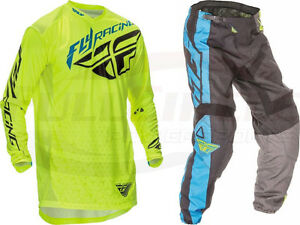 NEW FLY RACING F-16 BLUE//BLACK//HI VIS JERSEY AND PANT COMBO MOTO MX ATV OFFROAD