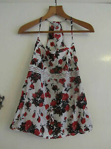 Red-Black-amp-White-Floral-Cotton-Sleeveless-Debenham-Top-in-Size-10-NWOT