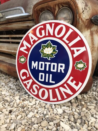 Antique Vintage Old Style Magnolia Gasoline Service Station Sign