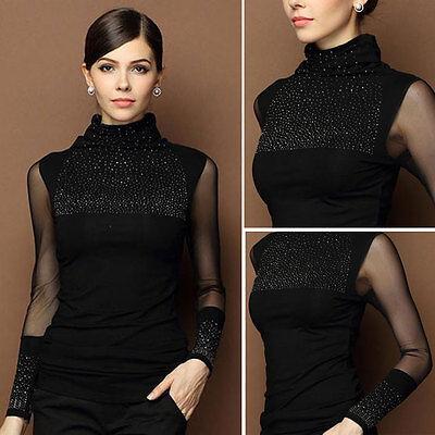 Fashion Women Blouse Casual Lace Knitted Shirt Long Sleeve Winter T-shirt Tops