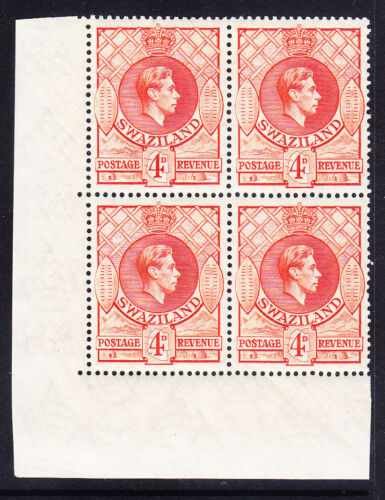 SWAZILAND GVI SG33 4d P1312x13 B of 4 top stamps lm others um c56 as singles