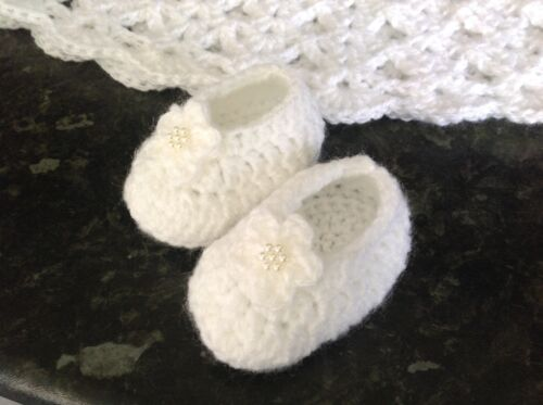 Baby Girl pink warm Crochet  Booties ballet shoes slippers flower 0-6 Months
