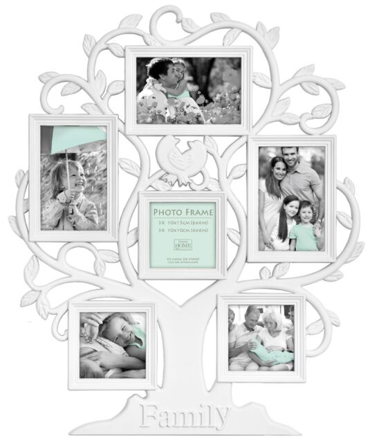 White Family Tree Shaped Collage Photo Frame Holds 6 Photos | eBay