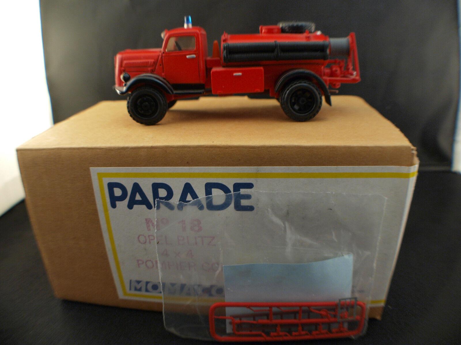 PARADE n° 18 Opel Blitz 4x4 Fourgon pompiers boite neuf 1 50