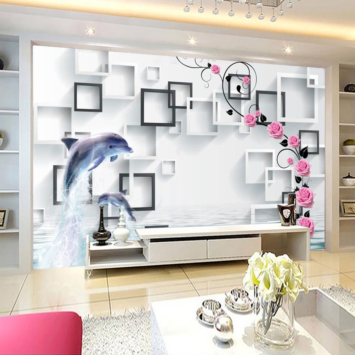 3D Dolphins flowers 20 Wall Paper Wall Print Decal Wall Deco Indoor Wall Murals