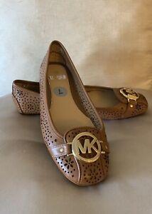 New-Michael-Kors-Luggage-Leather-Fulton-Moc-Flats-Various-Size-6-10