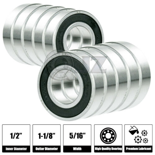 10x R8-2RS Ball Bearing 1//2 x 1-1//8 x 5//16 Rubber Seal Premium RS