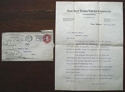 New York Mortimer N Buckner Ny Beautiful 1912 Cover & Letter New York Trust Co.