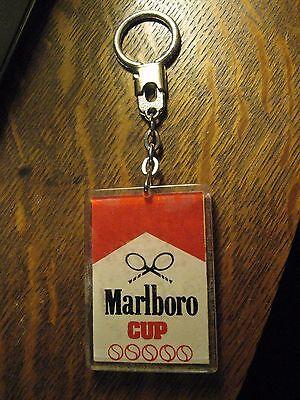 Marlboro Cup Tennis Keychain - Vintage 1970's Cigarettes Tournament Key Ring
