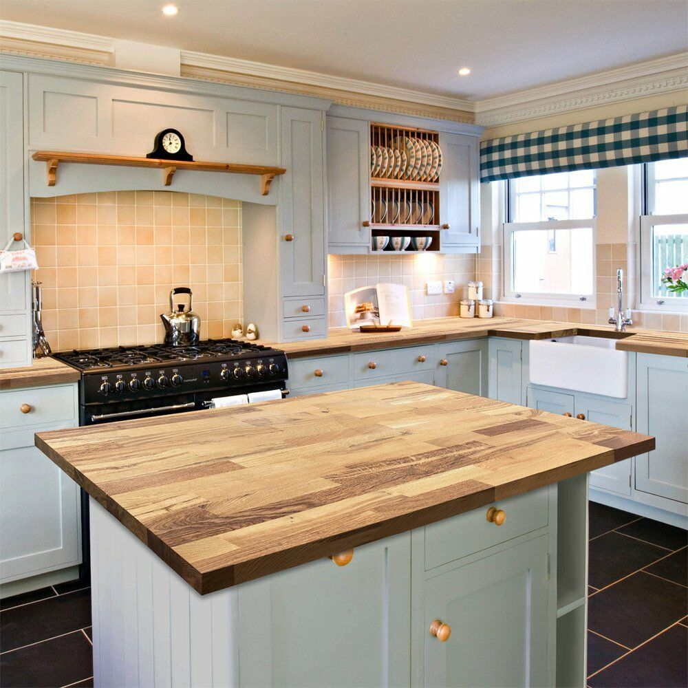 Solid Wood Rustic Kitchen Worktop Farmhouse Oak 40mm Thick