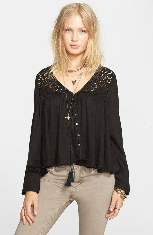 NWT Free People 'Doin' It Right' Button Front Blouse Retail