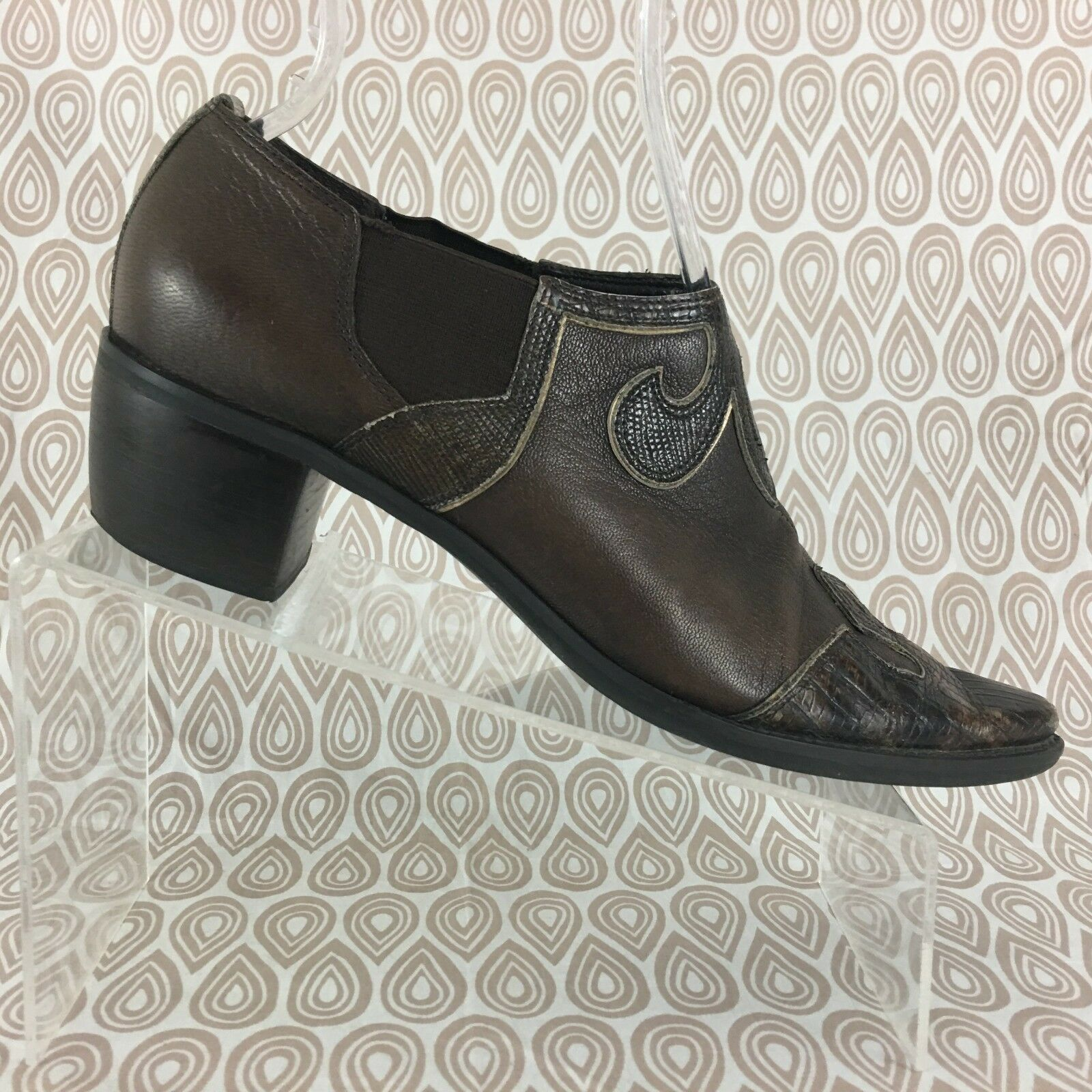 Franco Sarto Women's Brown Leather Low Top Ankle Cowboy Boots Size 9 M S174