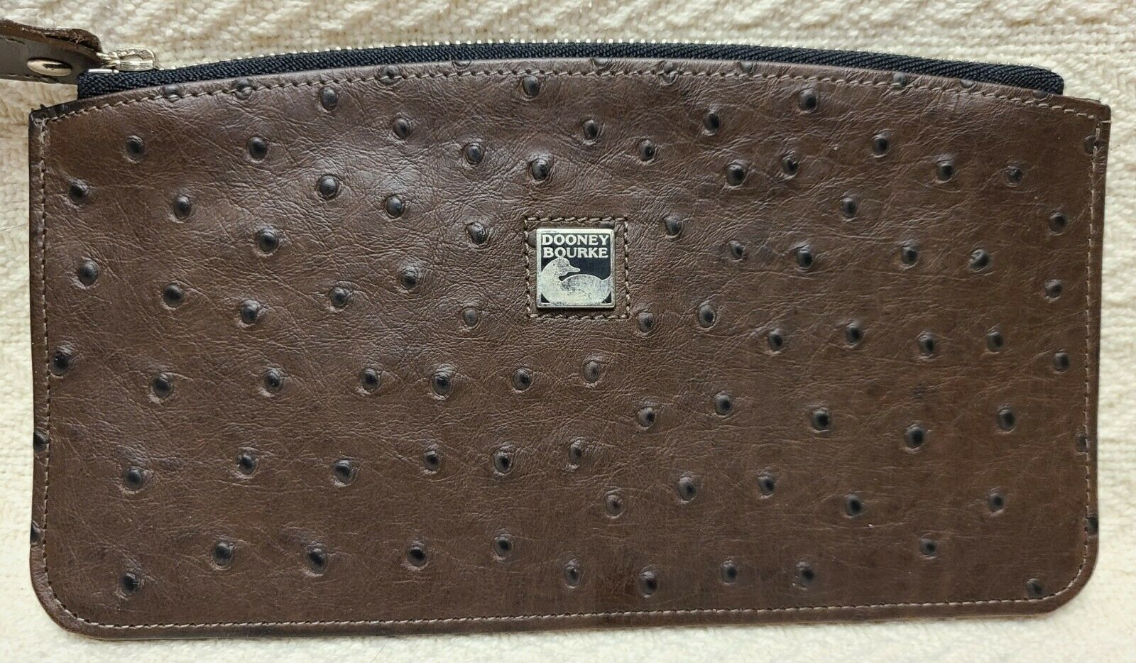Dooney & Bourke Brown Ostrich Embossed Leather Coin Bag