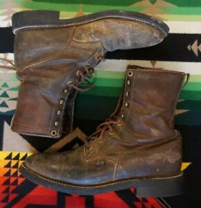 8523e8ea14d Details about JUSTIN Workboot 760 Lace Up Leather Cowboy Western Boots  Brown Men's Size 10 D
