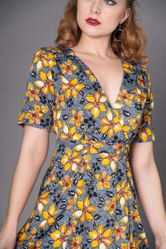 Sheen SOPHIE Vintage FLORAL Blumen V-NECK Kurzarm A-LINIE Dress Kleid Rockabilly