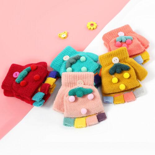 Kinder Winter Bunte Pompon Flip Top Fingerlose Handschuhe Warme Handschuhe New