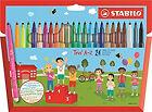 STABILO Trio A-z Wallet of 20 4 Neon Colours - Felt-tip Pen With