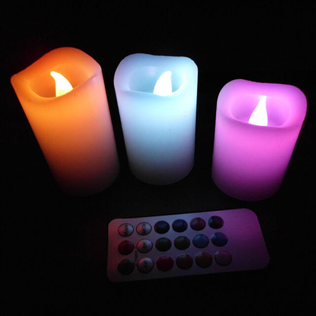 3 x 12 Colors Electronic Changing LED Flameless Candles light w/Remote Control