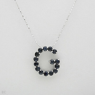 Initial G letter Necklace W//2.25ctw Genuine sapphire in 925 Sterling Silver 16/""