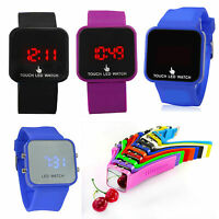 Sports LED Digital Watches Silicone Mirror Touch Screen Wristwatches Women Men