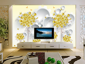 3D golden Flowers Painted 25 Paper Wall Print Wall Decal Wall Deco Indoor Murals