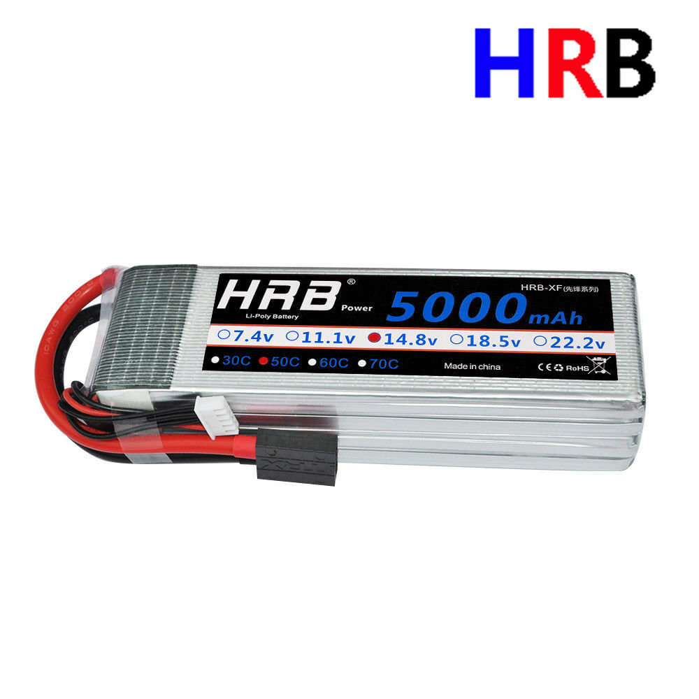 HRB 14.8V 5000mAh 4S LiPo Battery 50C-100C Traxxas for RC Heli Plane Car Boat