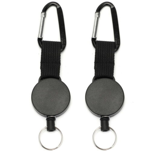 2 X Retractable Stainless Steel Keyring Pull Ring Key Chain Recoil Heavy Duty