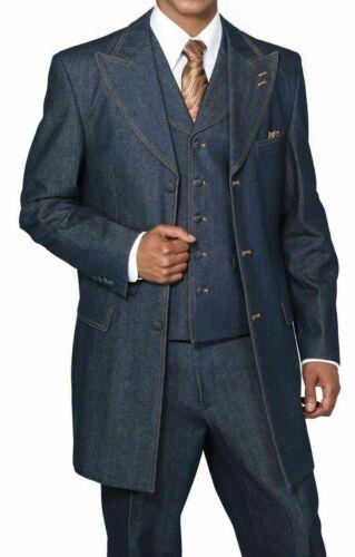 Men/'s 100/% Cotton Denim Blue Jean Suit Vested double contrast stitching 5285V