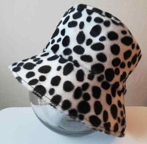 Cappello Secchio In Finta pelliccia dalmata stampa fatto a mano ottimo per FESTIVAL