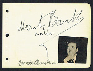 Monty Banks (d. 1950) signed autograph 4x5 Album Page Actor and Film Director