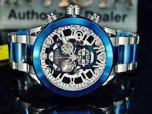 Invicta-Men-039-s-50MM-034-SKULL-034-Skeletonized-Swiss-Chronograph-Blue-Two-Tone-SS-Watch