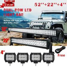 "52Inch LED Light Bar Combo+22inch+4"" PODS OFFROAD SUV 4WD For FORD JEEP"