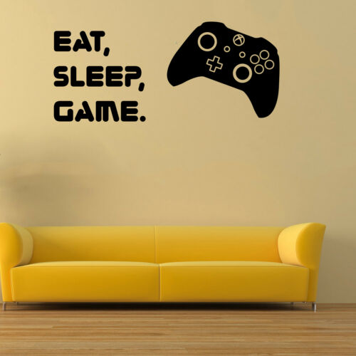 Eat Sleep Game Wall Art Stickers XBOX 1 Controller Silhouette Gaming Decals E2