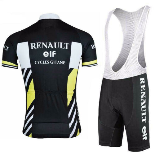 Retro Black Renault Elf Cycling Jersey and  Bib Short Set