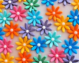 Image Is Loading Gorgeous Edible Coloured Flowers CUPCAKE TOPPERS Birthday Cake
