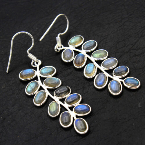 Cyber Day Sale Natural Labradorite 925 Sterling Silver Earrings Handmade Jewelry