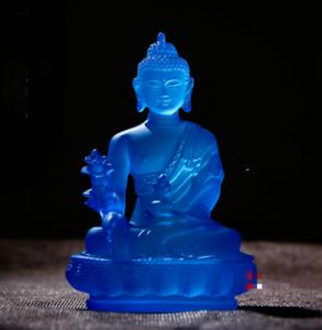 12CM-Tibet-Tibetan-Buddhism-Resin-Lotus-Shakyamuni-Menla-Medicine-Buddha-Statue