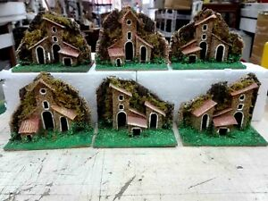 Set of 6 Houses Wood and Cork Crib San Gregorio Armeno Naples Miniature