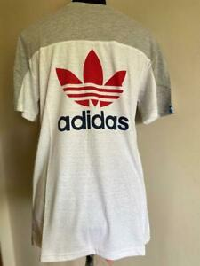 AUTHENTIC Adidas Originals Men's Core Stack T-Shirt White / Gray MEDIUM M SALE
