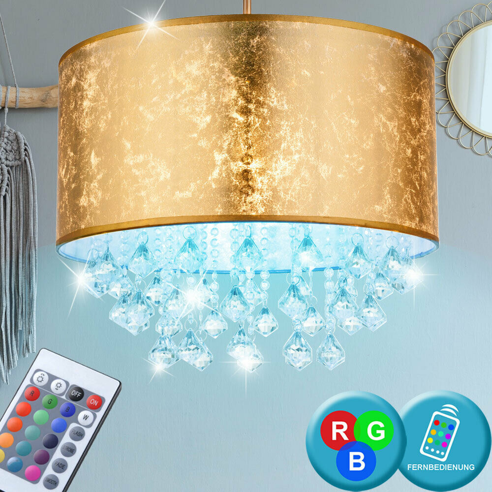 RGB LED crystal pendant lamp Gold remote control textile ceiling lamp dimmable