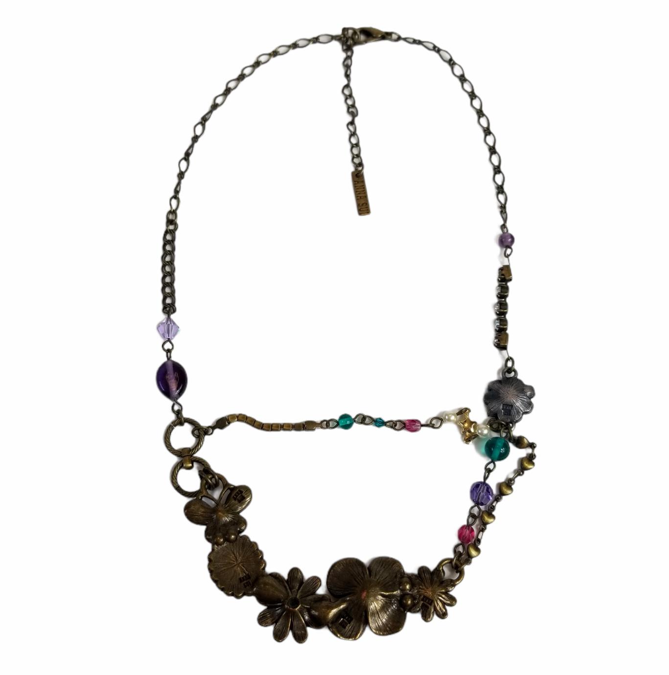 Vintage Anna Sui Flower Crystal Rhinestone Caboch… - image 6